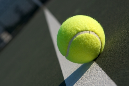 extreme angle: Tennis Ball on the Court Extreme Angle Stock Photo