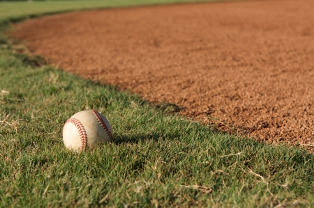 Baseball in the grass of the outfield Stock Photo - 23750136
