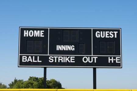 scoreboard: Baseball Field Scoreboard Stock Photo