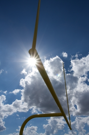 uprights: American Football Goal Posts or Uprights with sun burst Stock Photo