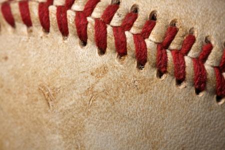 Close up of a baseball threads Stock Photo