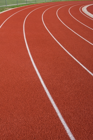 Curve of a Red Running Track Stock Photo