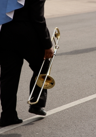 Trombone player from the band marching