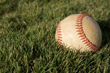 outfield: Baseball on the Outfield Grass of Field