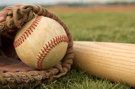 Baseball in a Glove near the Baseball Bat