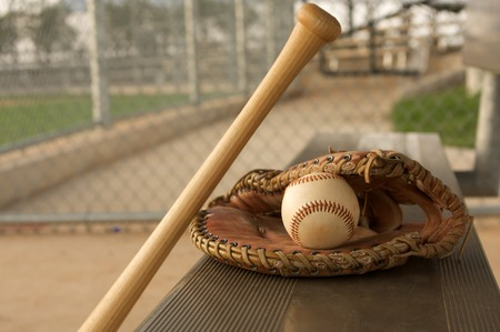 guante de beisbol: Béisbol y palo en el banco con un guante
