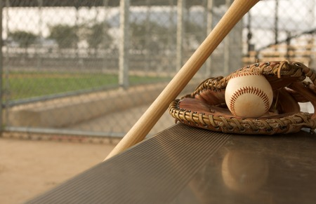 Baseball & Bat on the Bench with the reflection of the ball