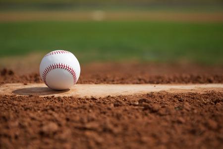 beisbol: Béisbol en el montón de jarras de primer plano con espacio para copiar