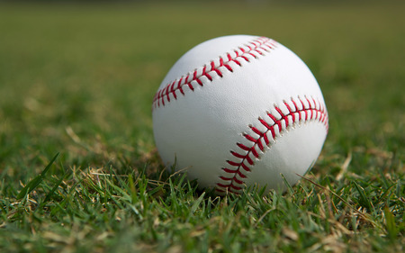 Baseball on the Outfield Grass Close up Stock Photo - 26507983