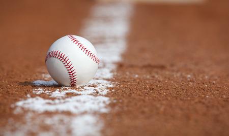 baseball field: Baseball on the Infield Chalk Line