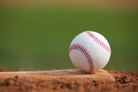 pitchers mound: Baseball on the Pitchers Mound Close Up with room for copy