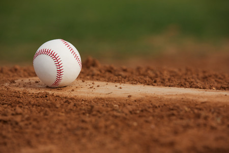 school sports: Baseball on the Pitchers Mound Close Up with room for copy