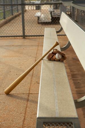 baseball dugout: B�isbol y palo y guante en el Dugout