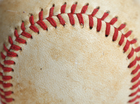 school sports: Close up of a baseball threads with room for copy Stock Photo