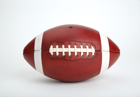 collegiate: American Football Isolated on White  Stock Photo