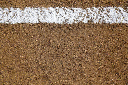 dirt background: Baseball Infield Chalk Line with room for copy and for Sports Background Stock Photo