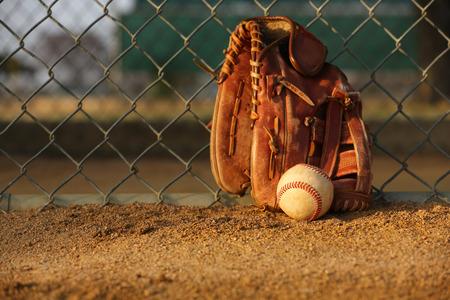guante de beisbol: Béisbol y guante contra la cerca del jardín