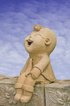 sculpted: Child smile statue Stock Photo