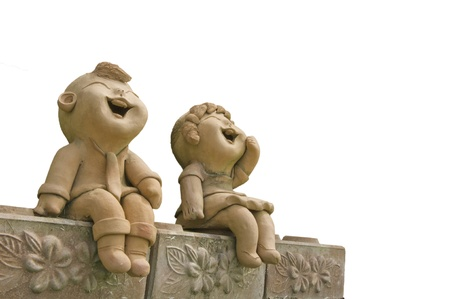 clay: Child smile statue Stock Photo