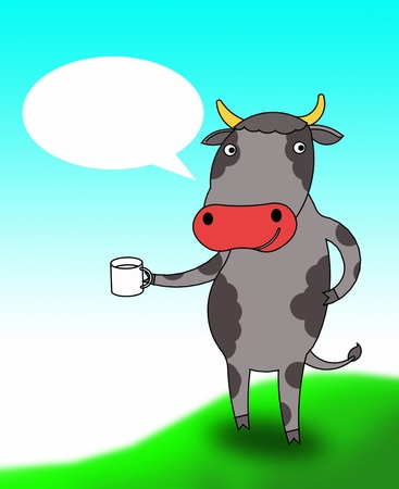 cow take a cup photo