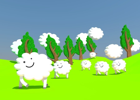 happy in sheep farm photo