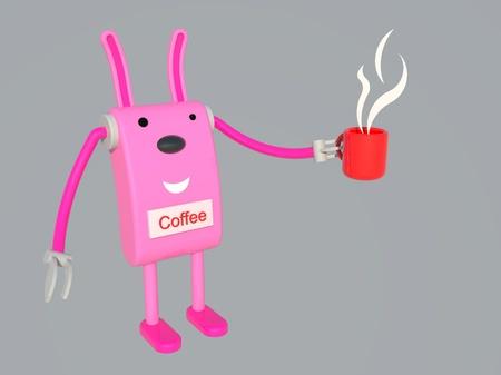 pink rabbit: Pink rabbit in relaxing coffee break time Stock Photo