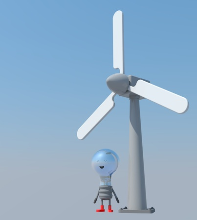 windmill with lamp man photo