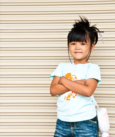 shy girl: Closeup portrait of Thailand children