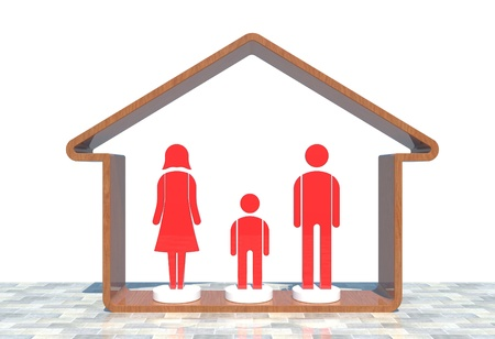 Red family in the red home Stock Photo - 11297951