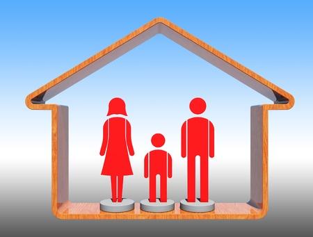 Red family icon Stock Photo - 11536880