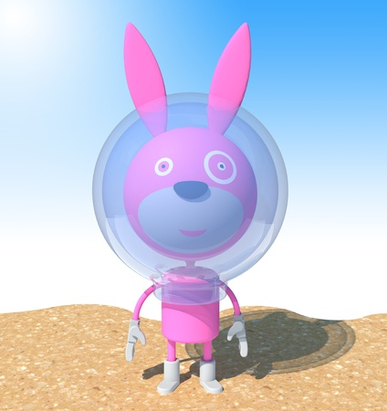 space suit: Pink rabbit in space suit