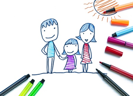 draw: Family by color pen