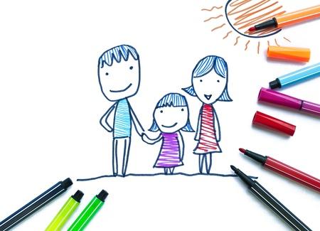 trekken: Family op kleur pen Stockfoto
