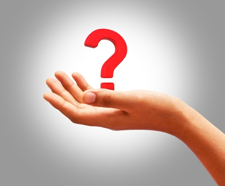 Question mark on the palm Stock Photo - 11969142
