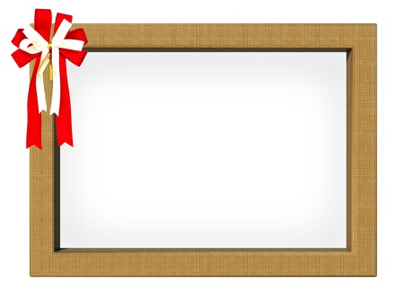 The Picture frame with red ribbon