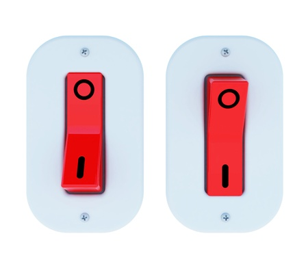 Electric switch ON/OFF by 3D illustration. Isolated Stock Illustration - 12125241