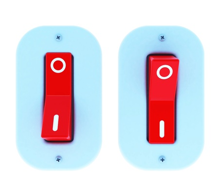 Electric switch ON/OFF by 3D illustration. Isolated Stock Illustration - 12125249