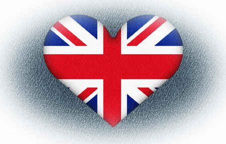 A British flag with a big hert