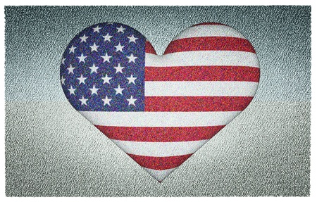 US flag in heart shape to created from three dimention program photo
