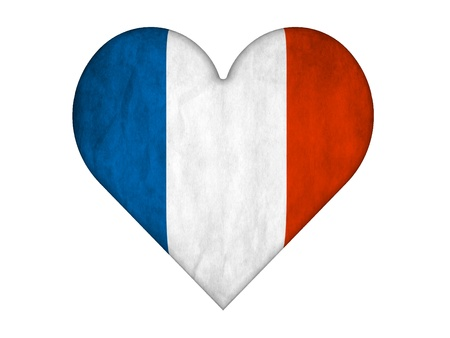 Flag of france in Love heart shape photo