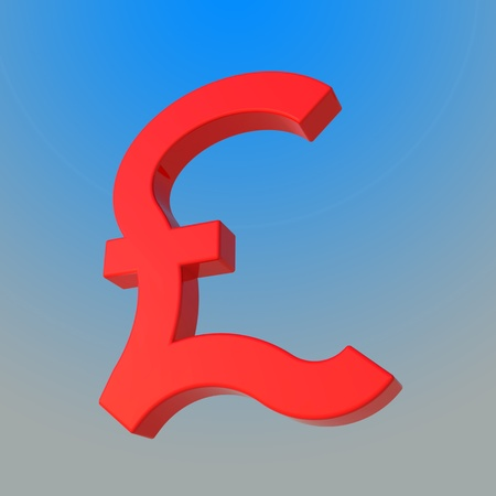 Glossy red pound symbol by three dimensional program photo