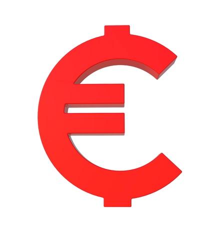 Glossy red euro symbol by three dimensional program photo