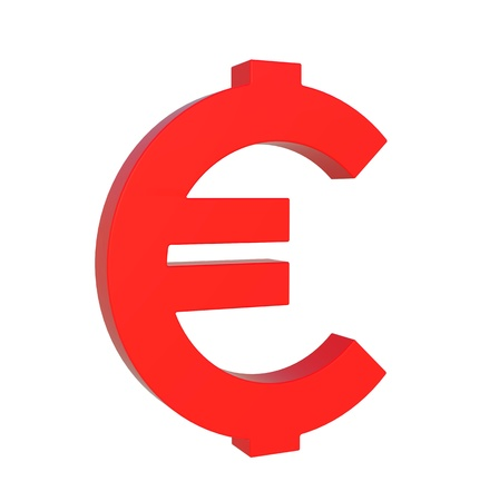 Glossy red euro symbol by three dimensional program Stock Photo - 12401973