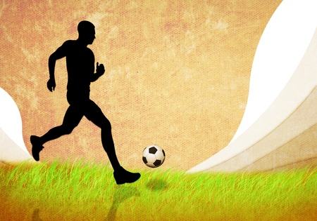 grunge image of soccer man running with football photo