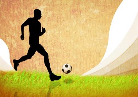 grunge imagen del hombre del f�tbol corriendo con el f�tbol Foto de archivo - 13084928