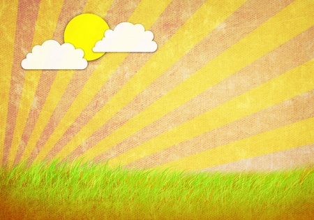 grunge image of green field and sun and sky Stock Photo - 13084960