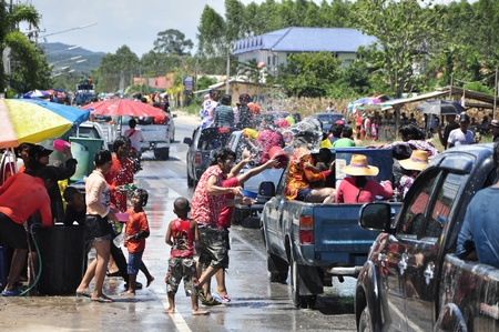 Songkarn is new year of Thailand , Every year on April is summerseason the people to Merit , Back to the family and Splashing water
