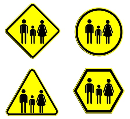 mather: Family icon in traffic plate to created by sketchup and photoshop program