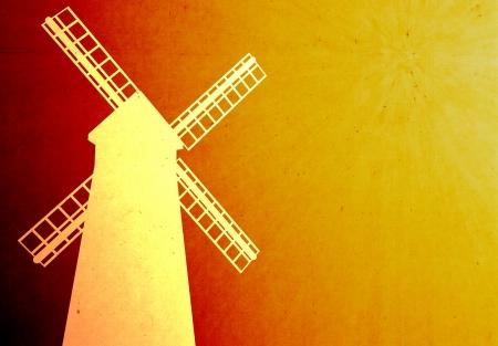 ida: Grunge style of windmill with orange grunge background