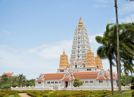 White buddhagaya pagoda in public temple ,Wat Yansangwararam Pattaya, Thailand photo